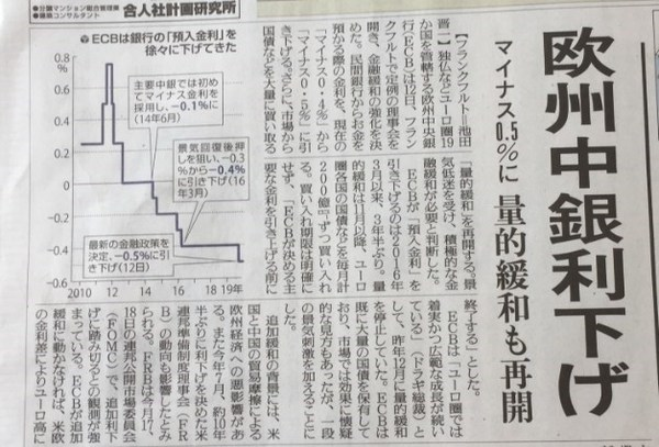 ECB金融緩和再開2019読売新聞.jpg